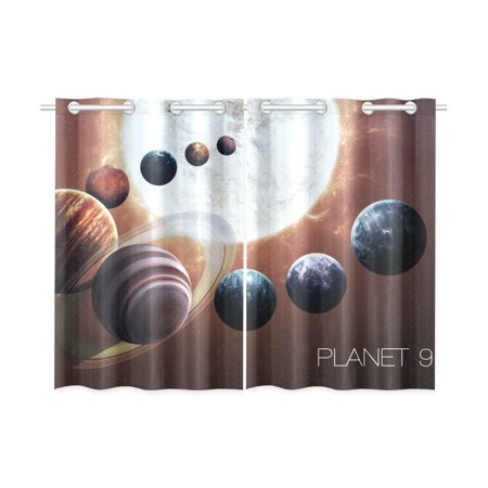 MYPOP Ninth planet of the Solar System Opened Window Curtain Kitchen Curtain 26x39 inches (Two Pieces) Open Kitchen System