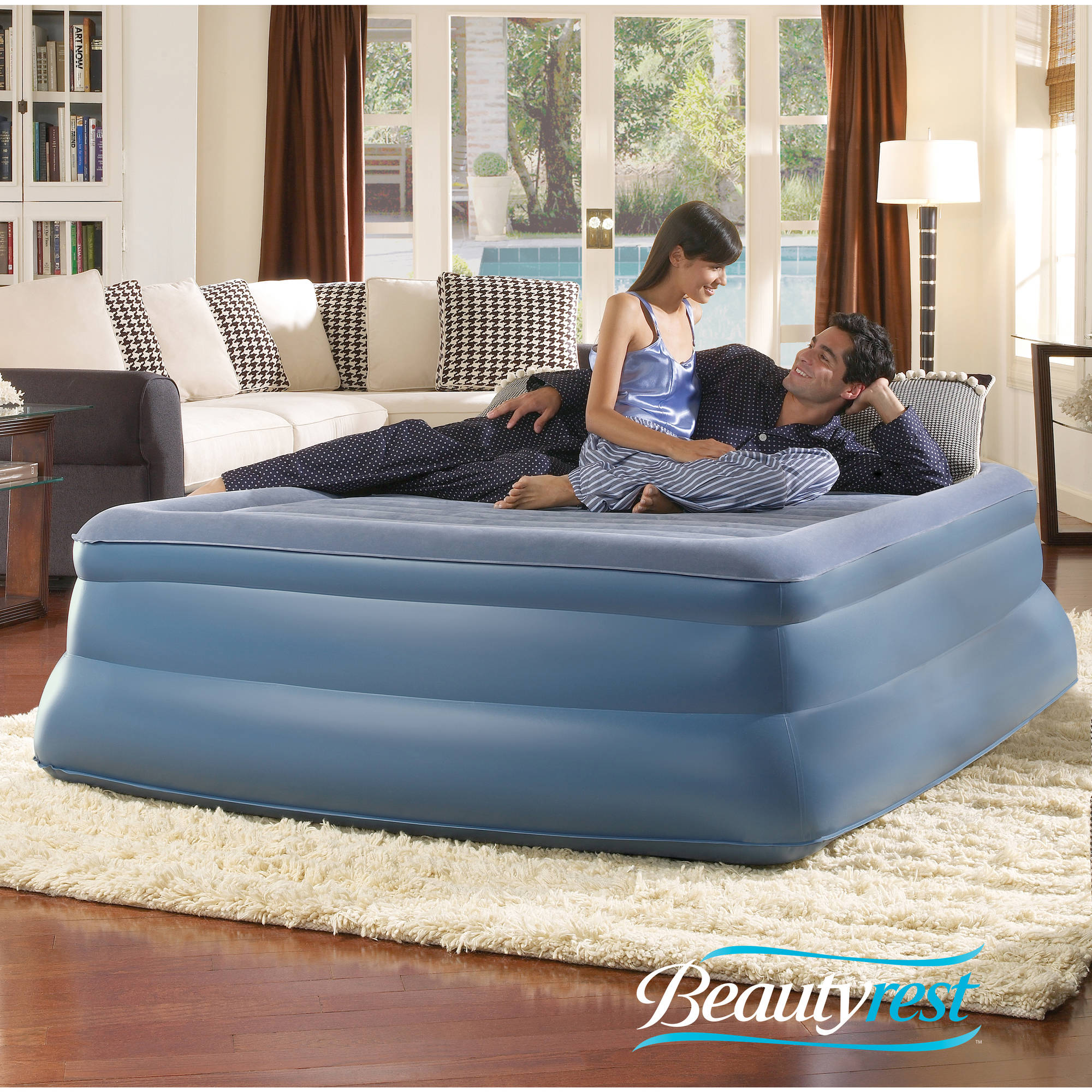 Simmons Beautyrest Queen Sky Rise Raised Pillowtop Air Bed Mattress with Pump
