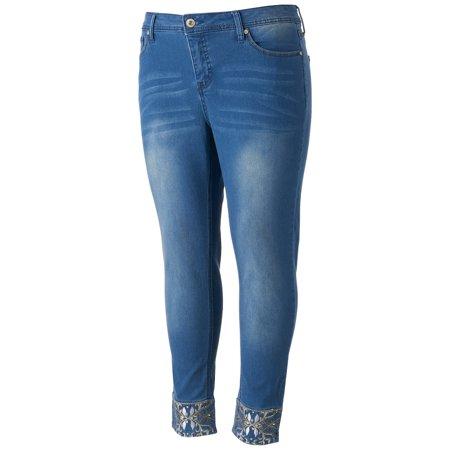 e6db7f4575a17 Juniors  Plus Size Hydraulic Lola Curvy Embellished Skinny Jeans -  Walmart.com