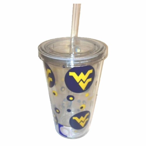 ***P95***NCAA West Virginia Tumbler with Straw