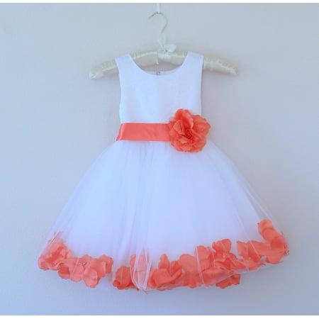 Ekidsbridal White Wedding Pageant Floral Lace Bodice Rose Petal Tulle Flower Girl Dress 165s](White Lace Flower Girl Dress)