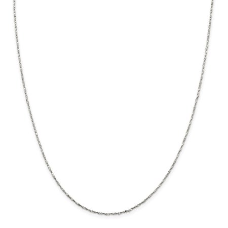 925 Sterling Silver 1.2mm Twisted Serpentine Chain Necklace 16 Inch