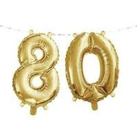 "1PK Gold 80th Birthday Balloon Banner ,Item per pack: 1eachSize: 16"" x 5'"