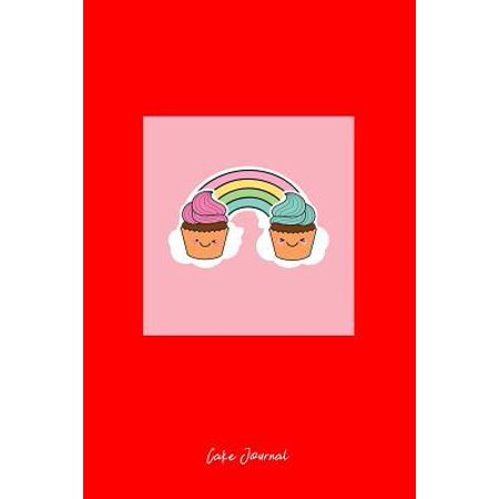 Cake Journal: Dot Grid Journal - Rainbow Cupcakes Pink Cute Fun-ny Baking Food Baker Gift - Red Dotted Diary, Planner, Gratitude, Wr