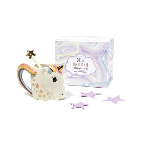 Novelty Trendy Drinkware Cupcakes and Cartwheels  Be A Unicorn White 12oz Ceramic Coffee Mug with Metallic Star Stirrer (2pc Set)