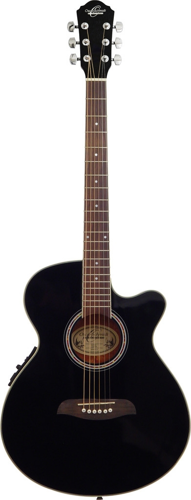 Oscar Schmidt Acoustic Electric Guitar, Spruce Top, 3 Band EQ, Black, OG8CEB by Oscar Schmidt