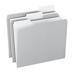 - Office Depot Top Tab Color File Folders, 1/3 Cut, Letter Size, Gray, Box Of 100, OD152 1/3 GRA