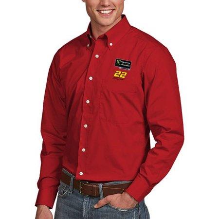 Joey Logano Antigua 2018 Monster Energy NASCAR Cup Series Champion Dynasty Long Sleeve Button-Down Woven Dress Shirt - - Antigua Woven Dress Shirt
