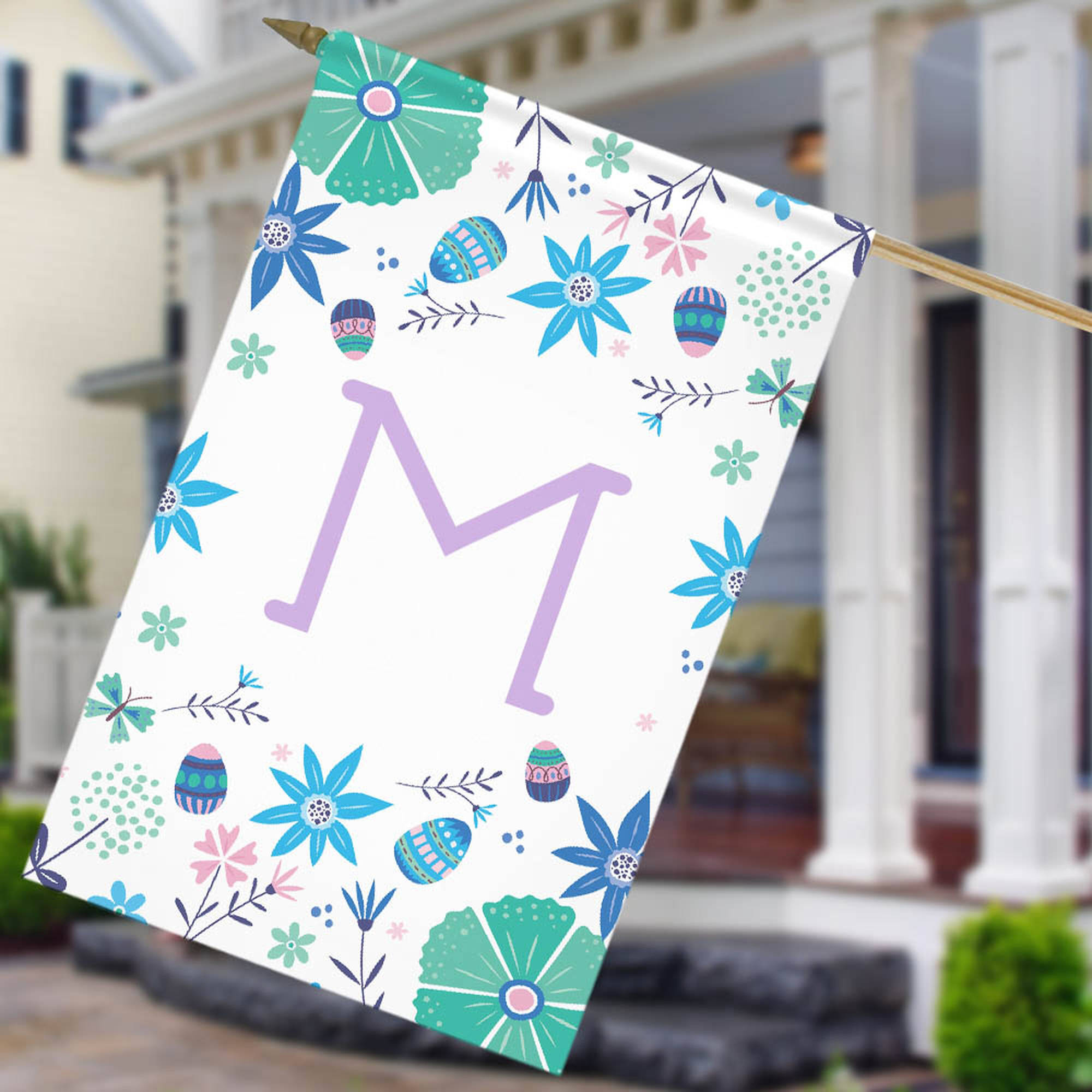 "Personalized Floral Initial House Flag, 27"" x 18"""