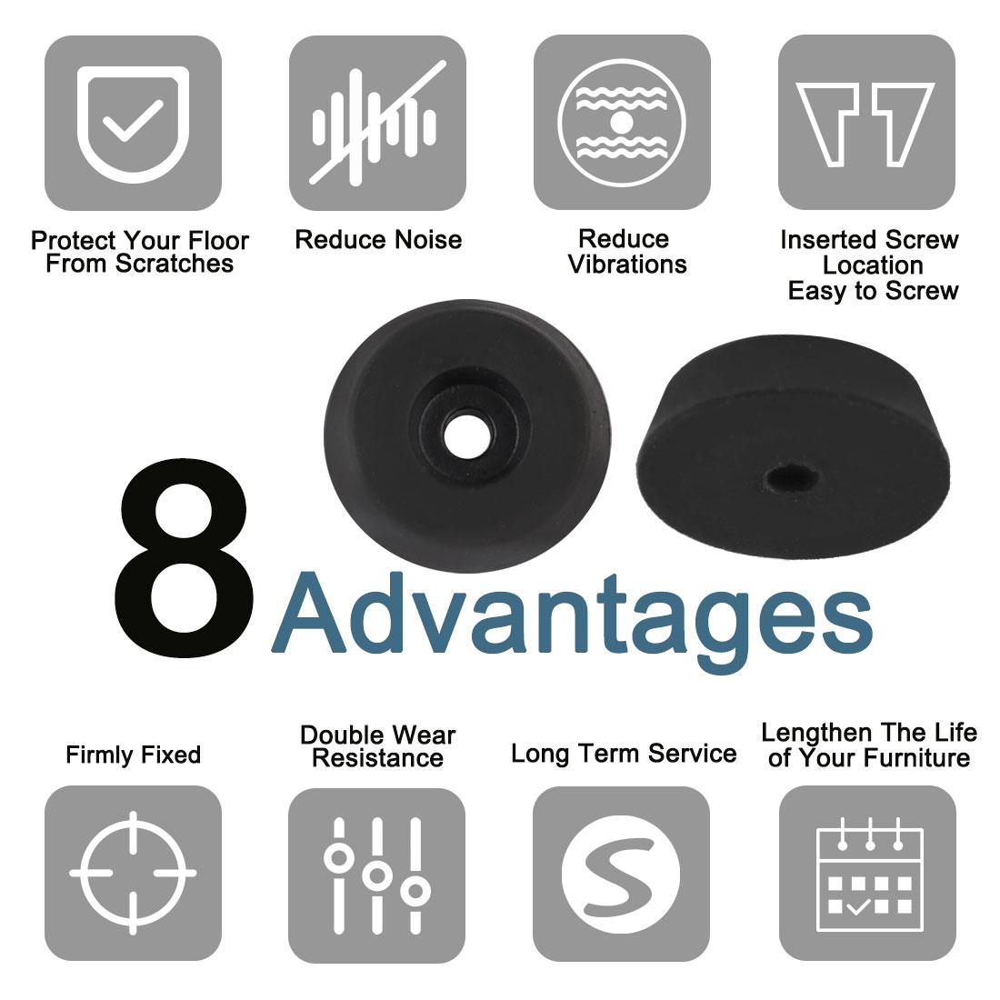 4pcs Rubber Feet Bumper Pads for Amplifier Printer Table Desk Leg, D18x15xH5mm - image 4 de 7