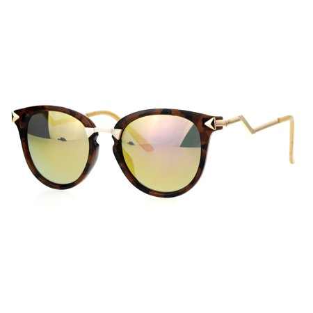 ed6e7788e2 SA106 - SA106 Mirrored Lens Crooked Bolt Arrow Arm Horn Rim Retro Sunglasses  Tortoise Pink - Walmart.com