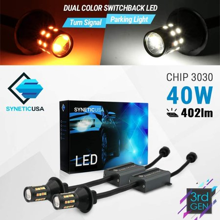 Error Free Canbus Dual Color Switchback LED Turn Signal Light Bulbs No Flicker All in One Built In Resistors (Turn Signal-Amber, 1157) (Led Switchback Turn Signal)