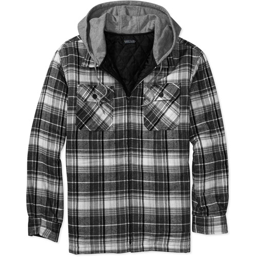Faded Glory - Men's Lined Flannel Shirt Jacket with Hood - Walmart.com