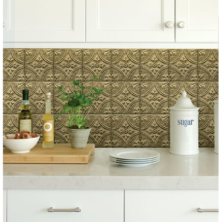 Peachy Inhome Restored Tile Brass Peel Stick Backsplash Tiles Home Interior And Landscaping Oversignezvosmurscom