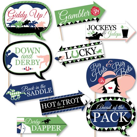 Funny Kentucky Horse Derby - Horse Race Party Photo Booth Props Kit - 10 Piece - Kentucky Derby Party Decorations
