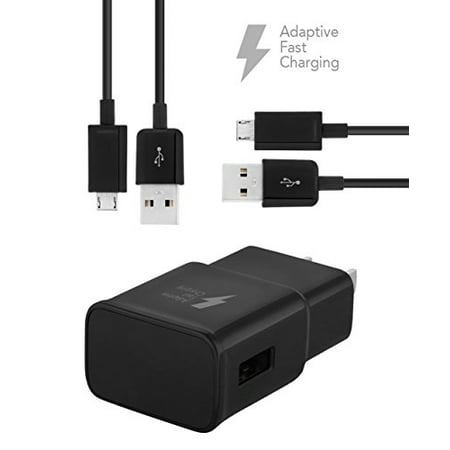 Samsung Galaxy J7 Prime Charger Fast Micro USB 2.0 Cable Kit by TruWire - {2 Fast Wall Charger + 2 Micro Cable} True Digital Adaptive Fast Charging uses dual voltages for up to 50% faster charging! (Galaxy Charger Fast)