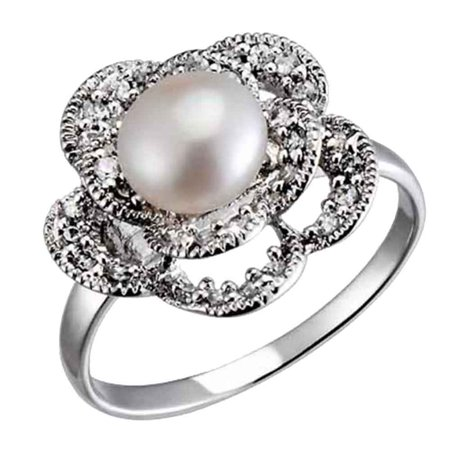 Sterling Silver Freshwater Cultured Pearl CZ Accents Floral Petals Women Wedding Engagement Ring Pearl Sterling Silver Designer Ring