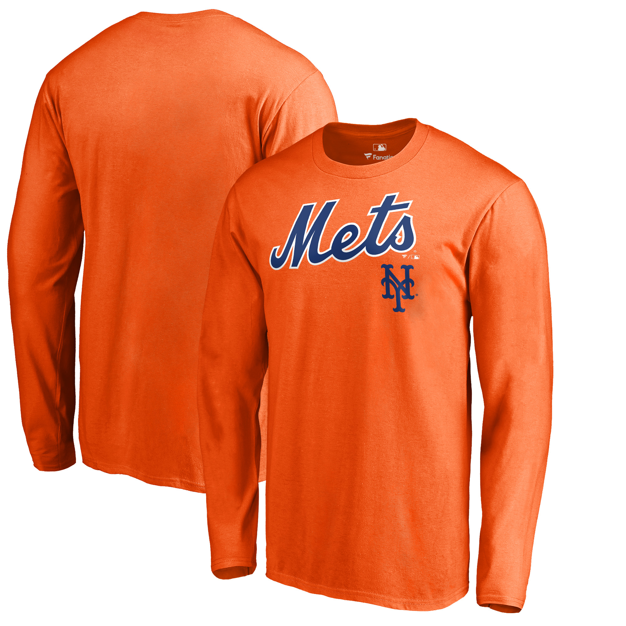 New York Mets Fanatics Branded Big & Tall Team Lockup Long Sleeve T-Shirt - Orange