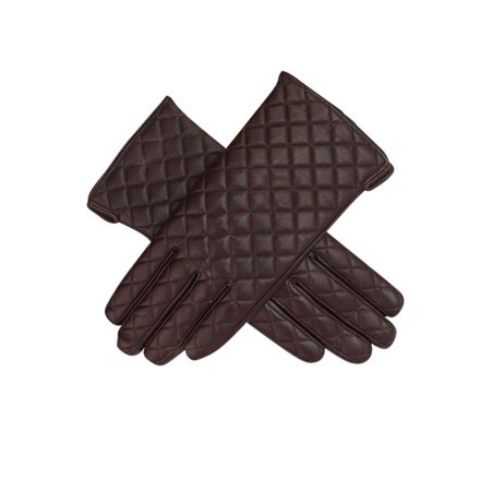 Womens Quilted Faux Leather Winter Gloves