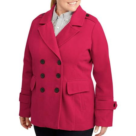 05116e5b790 ONLINE - Women s Plus-Size Essential Wool-Blend Peacoat - Walmart.com