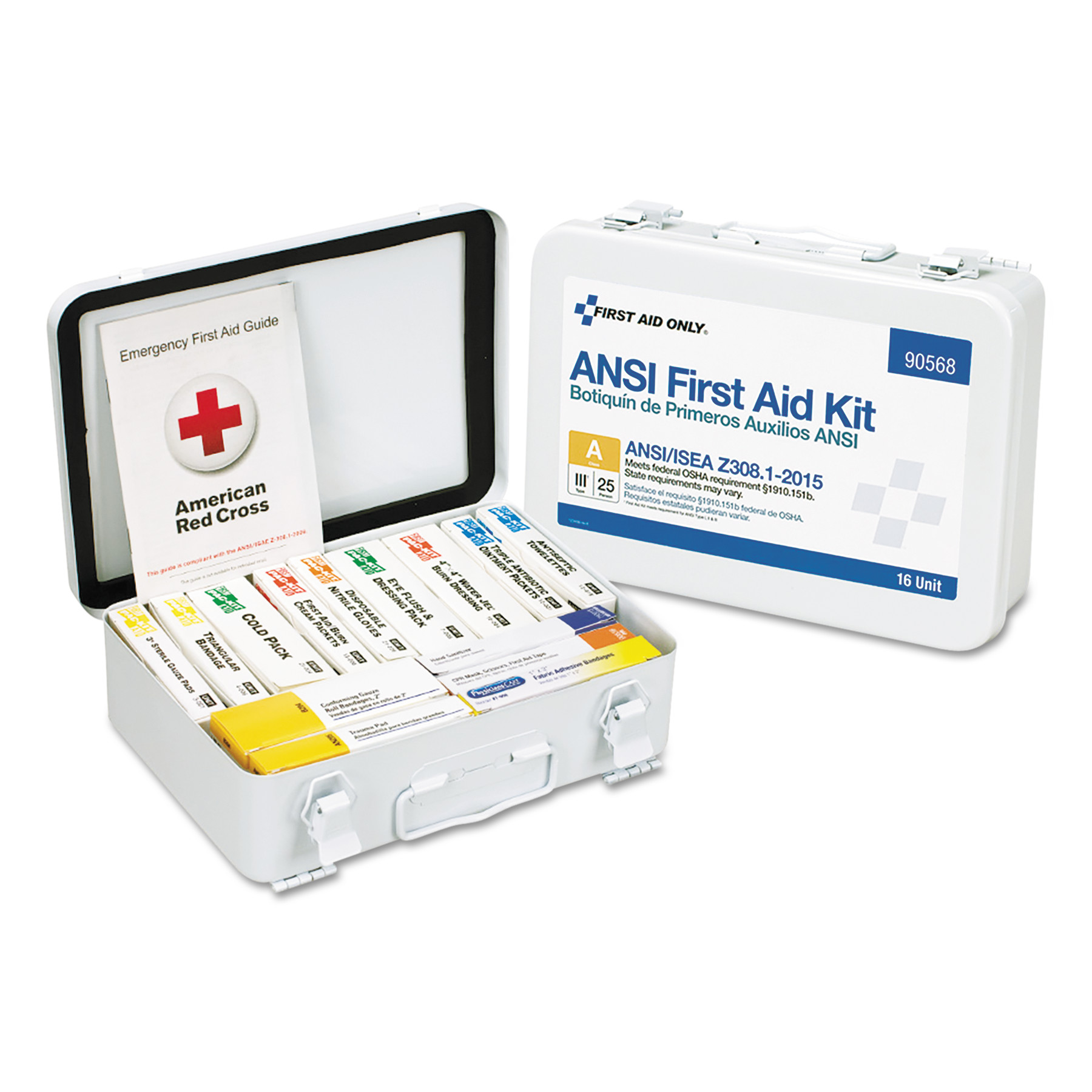 First Aid Only Unitized ANSI Compliant Class A Type III First Aid Kit for 25 People, 16 Units