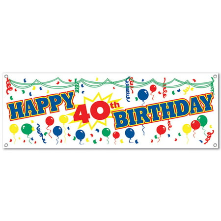 Happy 40th Birthday Plastic Banner