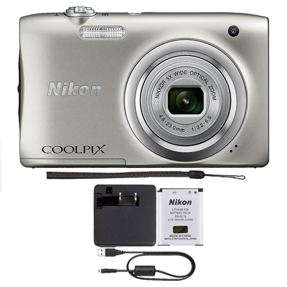 Nikon COOLPIX A100 20.1MP f/3.7-6.4 Max Aperture Compact Point and Shoot Digital Camera Silver