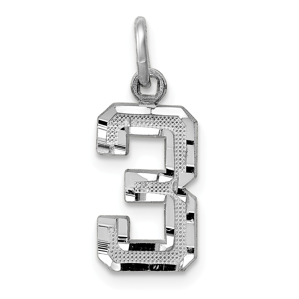 14k White Gold Casted Small D/C Number 3 Charm Pendant