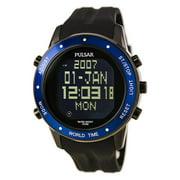 PQ2021 Men's On The Go Chrono Black Strap Digi Black Dial World Time Alarm Watch