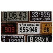 DII License Plates Vinyl Back Coir Doormat