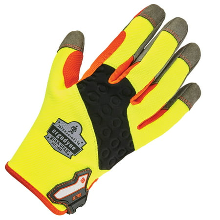 Ergodyne ProFlex 710 Heavy Duty Work Gloves, High Visibility, Reinforced Fingertips and Palm, XL
