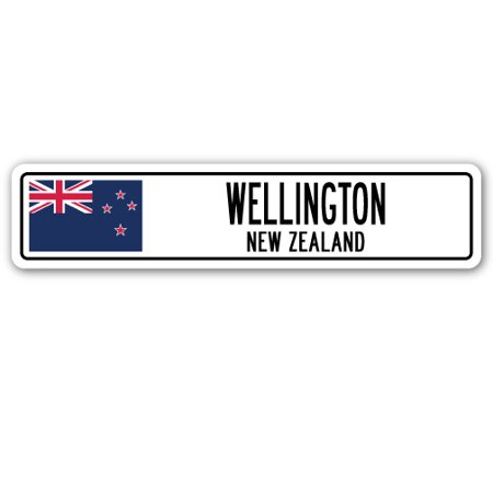 WELLINGTON, NEW ZEALAND Street Sign New Zealander Kiwi flag city country  gift - Party City Wellington