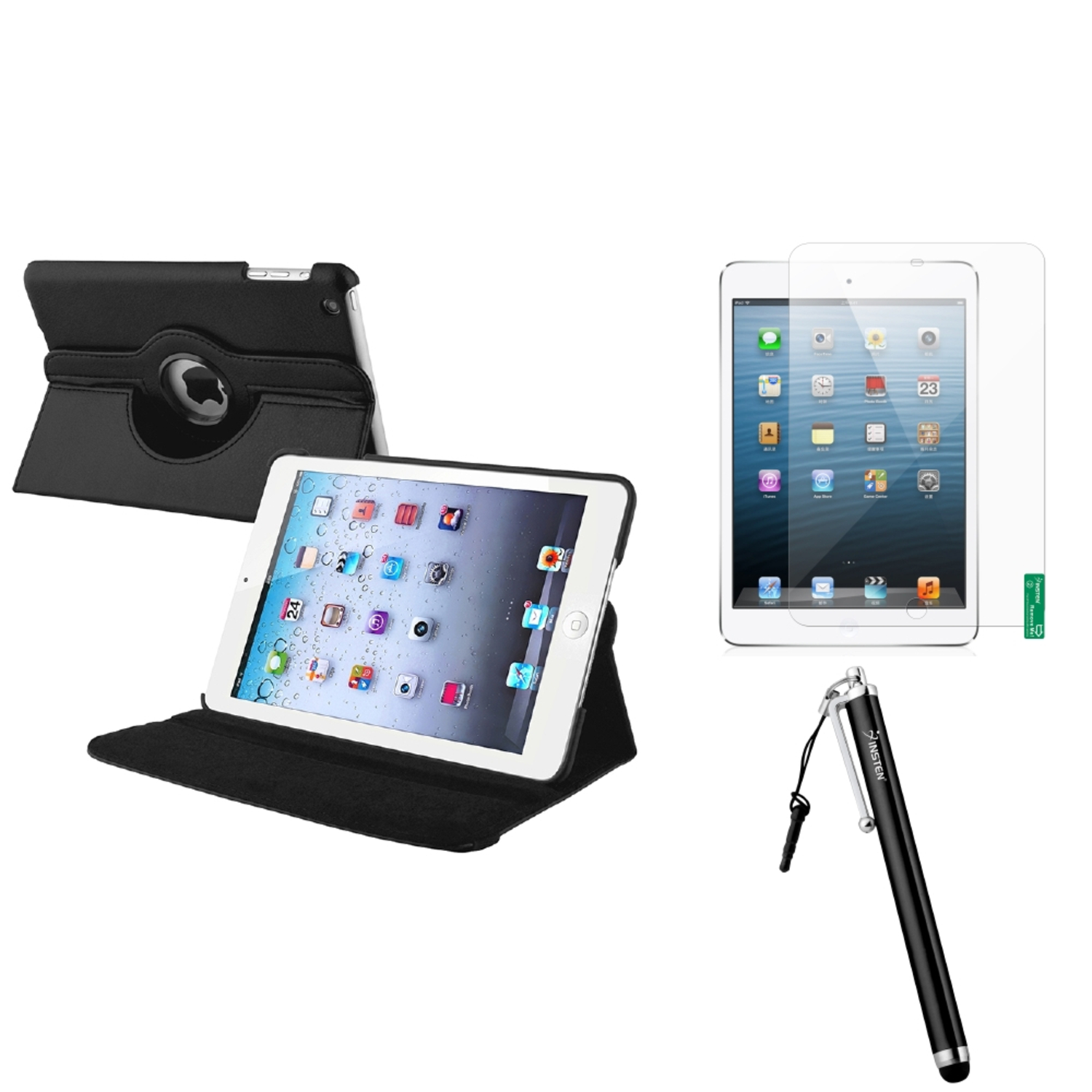 iPad Mini 3/2/1 Case, by Insten Black 360 Leather Case Cover+Matte Protector/Stylus for iPad Mini 3 2 1