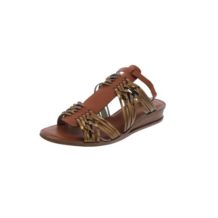 Womens Maliyah Leather Open Toe Wedge Sandals
