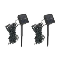 Pack of 2 64 ft 200 LED Green Outdoor Solar String lights for Garden Wedding Party Lamps