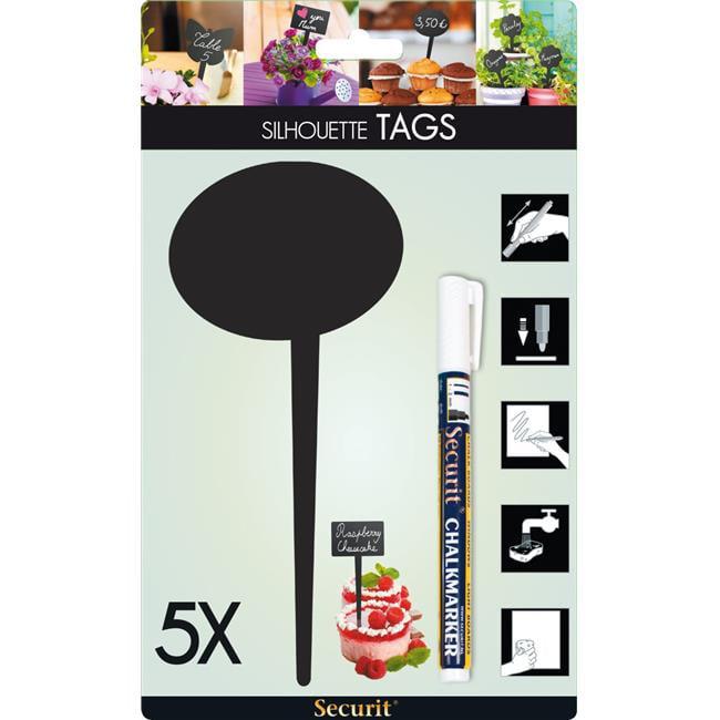 Securit TAG-BUBBLE-5 Mini Bubble Chalkboard Picket & Marker, Black - Pack of 5