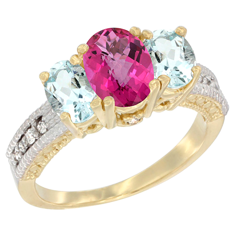 14K Yellow Gold Diamond Natural Pink Topaz Ring Oval 3-stone with Aquamarine, sizes 5 10 by WorldJewels