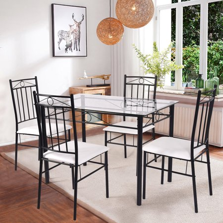 Costway 5 Piece Dining Set Glass Metal Table and 4 Chairs Kitchen Breakfast Furniture ()