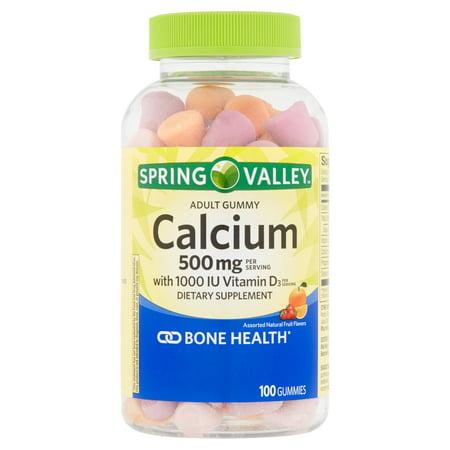 Spring Valley calcium avec vitamine D3 adulte Gummies supplément alimentaire, 100 count