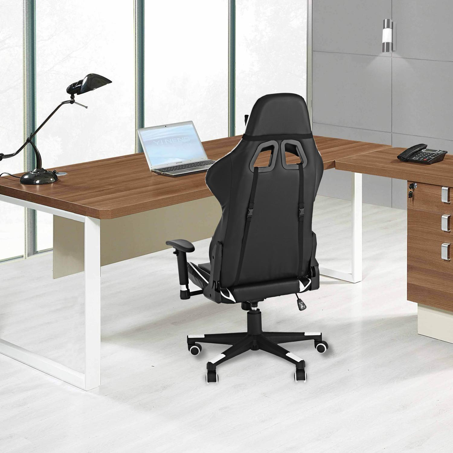 Office Chair with Armrests Ergonomic PU Padded High-Back Executive Chair ,Adjustable SPHP