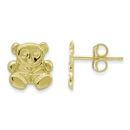 Mia Diamonds 14k Yellow Gold Madi K Polished Teddy Bear Earrings