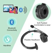 Trucker Bluetooth Headset/Office Wireless Headset with Extra Boom Noise Reduction Microphone,Over the Head Headphone On Ear Car Bluetooth Headphones for Cell Phone, Skype, Truck Driver, Call Center