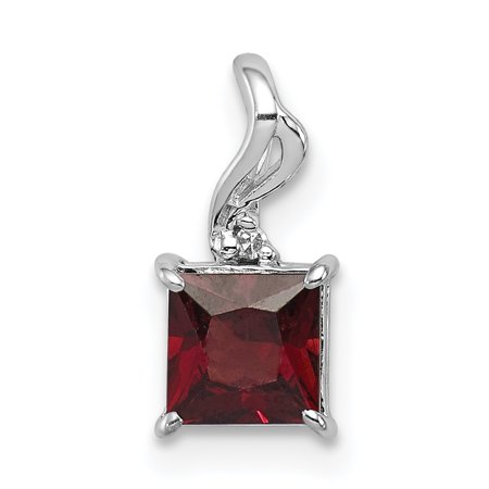 925 Sterling Silver Diamond Red Garnet Square Pendant Charm Necklace Gemstone Fine Jewelry Gifts For Women For Her - image 6 of 6