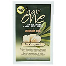 Hair One Argan Oil Hair Cleanser Conditioner For Curly Hair .608 oz. Packettes (Pack of 6)