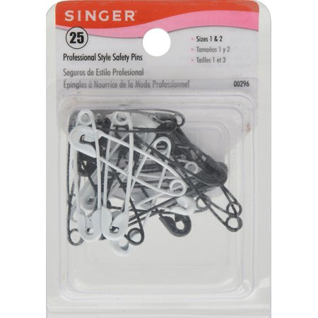 Singer Black And White Professional Style Safety Pins  25 Pack
