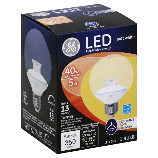 Ge Led 5W 40W G25 Clear 1Pk, PartNo 37922, by General Electric Co, Household Sun