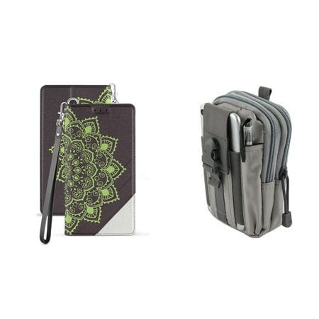 BC Synthetic PU Leather Magnetic Flip Cover Wallet Case (Mandala Green Lace) with Gray Tactical EDC MOLLE Waist Pouch and Atom Cloth for Samsung Galaxy J3 2018 (J337) ()