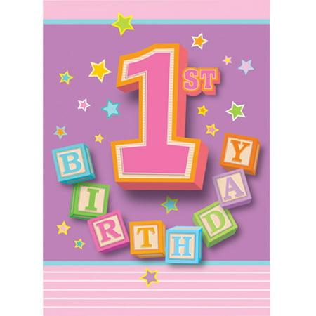1st Birthday Blocks Girl Invitations