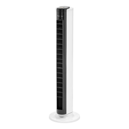IRIS Woozoo Remote Controlled Oscillating Tower Fan w/Adjustable Vents, White/Black Desktop Wind Tower Oscillating Fan