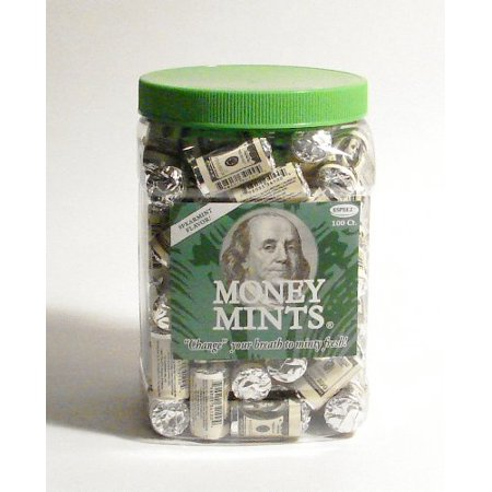 Money Mints-100ct-Individually Wrapped Spearmint Breath Mints with Poly Jar